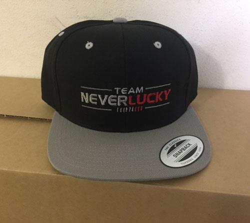 NeverLucky - Snapback - Black with Grey Brim